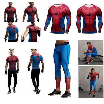 Spiderman Marvel Superhero Compression Trousers Sport Gym T-shirt Long Pants