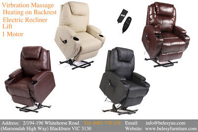Massage Lift Electric Recliner Chair Disabled Medical 1 Motor Heating Remote NEW