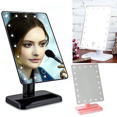 Beauty Cosmetic Make Up Illuminated Desktop Stand Mirror With 20 LED Light AO