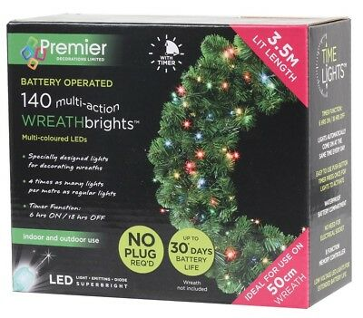 140 Multicolour Led Wreath Lights Battery Powered Christmas (No Wreath)