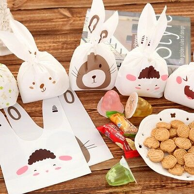 20pcs/lot Plastic Cute Rabbit Ear Cookie Biscuits Candy Food Self-adhesive Bags