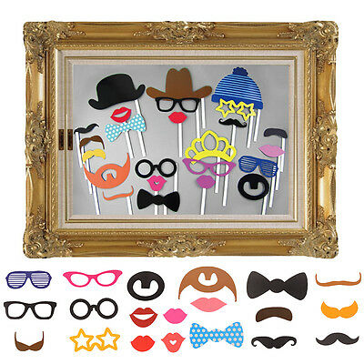 Photo Booth Large Picture Frame & 24PCS photo props Funny Faces Party Fun
