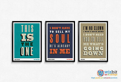 The Stone Roses Typographic Lyric Poster - 3 x A3 High Quality Prints