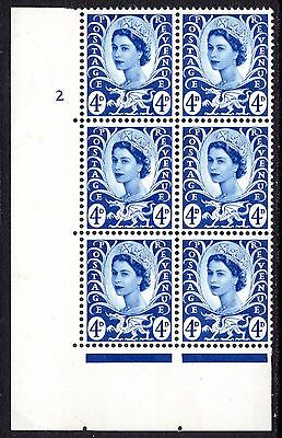 1968 Wales 4d Ultramarine SGW8 Spec XW7 Cylinder 2 No Dot  with Flaws MNH