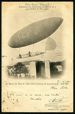 France 1901~ Airship Luftschiff Dirigeable Santos Dumont (62) Pc Vf Used