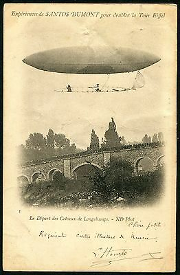 France 1901~ Airship Luftschiff Dirigeable Santos Dumont (64) Pc Vf Used