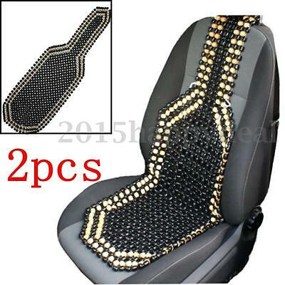 2x Natural Black Wooden Beaded Massage Car Van Taxi Front Seat Cover Cushion
