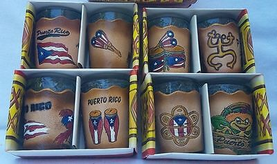 2pc Assorted Shot Glasse With Puerto Rico leather design holders SOUVENIRS Rican