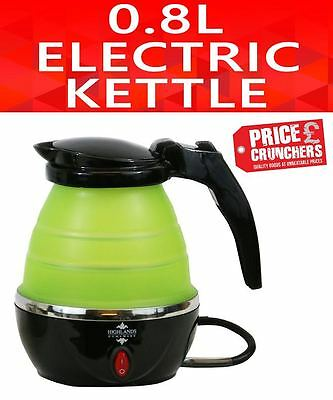 Small Travel Electric Foldable Kettle Caravan Camping Kitchen 0.8 L 1000W Green