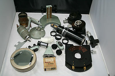 Collection Of Microscope Parts Including Watson And Zeiss