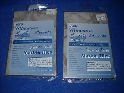 2 packs of peel & stick tiles, grey marble, by MBS - 1:12 scale, NIB, #MT-12GY