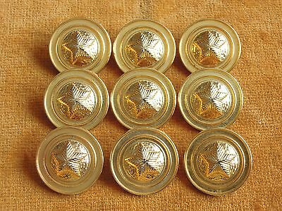 Set of 9 Gold Color Metal Star Domed Buttons 23mm #138