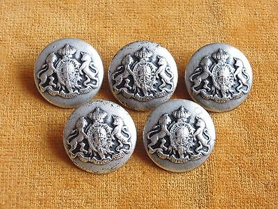 Set of 5 Grey Color Metal Coat of Arms Buttons 23mm #129