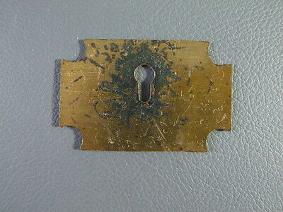 Antique or vintage writing slope or box brass key escutcheon spares parts