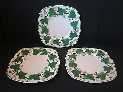 """Wedgwood Napoleon Ivy Square Luncheon Plate Set of 3 8.5"""" A L 4751 Green"""