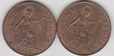 1935 & 1936 George V Pennies In Near Mint Condition With Full Lustre