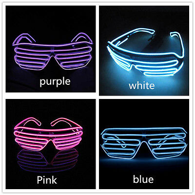 El Wire Neon LED Sound Control Light Up Glow Sunglasses Glasses Club Party SG