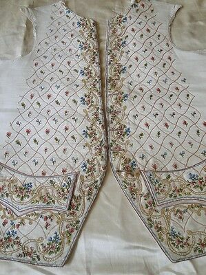 Circa 1770, Superb Man'S Silk Waistcoat Fronts W/beauvais Embroidery,roses