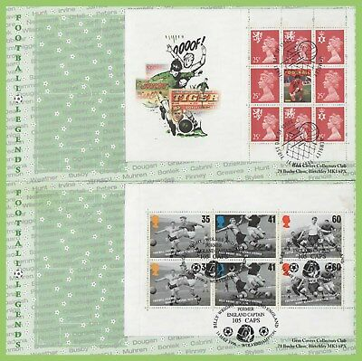 G.B. 1996 Football booklet panes on 4 x Gem First Day Covers, diff. cancels