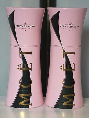 Two Moet & Chandon Pink Black Gold Gift Tin Insulated Champagne Cooler Capsule