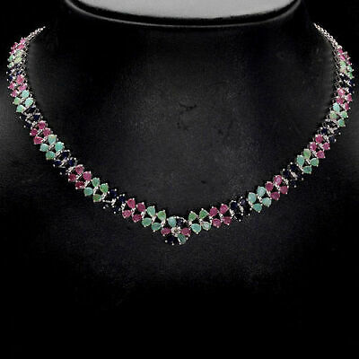 Sterling Silver 925 Genuine Sapphire, Emerald & Pink Ruby Necklace 18.5-20.5 In