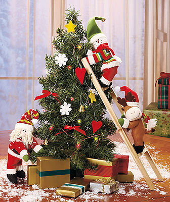 Lighted Christmas Tree Plush Santa with Snowman and Reindeer on Ladder