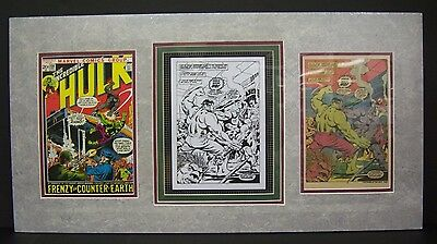 Original Production Art HERB TREMPE Hulk #158, pg. 19 matted w/actual cover & pg