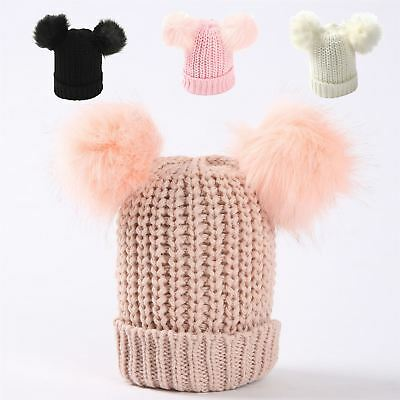 Womens Ladies Fashion Two Pompom Faux Fur Knitted Hat Beanie Booble Winter Warm