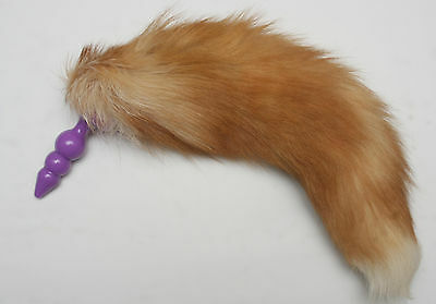 Red Tan Soft Fluffy Furry Fox Tail with Black or Purple Silicon Plug