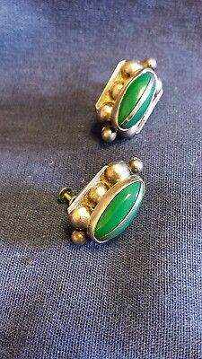 Vintage Mexico Taxco Sterling Silver Jade Earrings Chunky