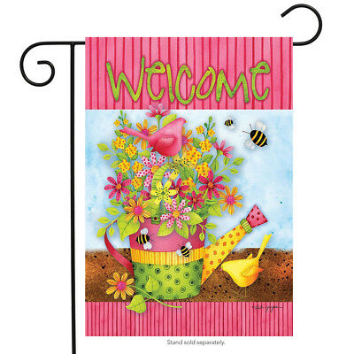"""Floral Welcome Spring Garden Flag Watering Can Primitive Flowers 12.5""""x 18"""""""