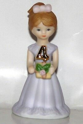 "Enesco BIRTHDAY ""Growing Up Girls"" 4 Year Brunette Doll Figurine - New In Box"