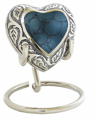 INCLUDES STAND - Beautiful Mini Keepsake Heart Urn for Ashes - Blue / SIlver