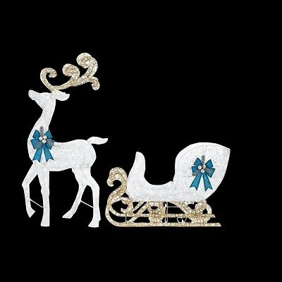 Christmas Outdoor Decor White Reindeer Sleigh Blue Bows 65 in. LED Lighted Yard