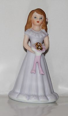"Enesco Birthday ""Growing Up Girls"" 8 Year Brunette Doll Figurine ~ New In Box"