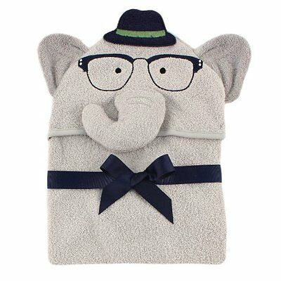 Hudson Baby Animal Face Hooded Towel for Baby Boys Grey Smart Elephant