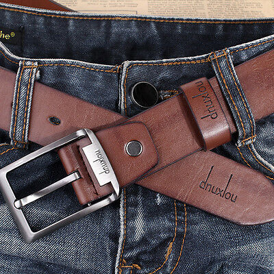Men's Waistband Luxury Leather Belts Trousers Pin Buckle Waist Strap Fashion 2C