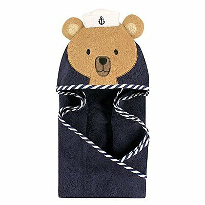 Hudson Baby Animal Face Hooded Towel for Baby Boys Navy Sailor Bear