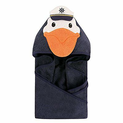 Hudson Baby Animal Face Hooded Towel for Baby Boys Navy Captain Pelican