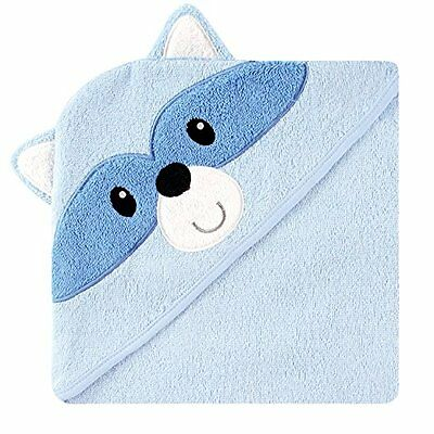 Luvable Friends Animal Face Hooded Towel, Blue Racoon 100% Cotton Terry