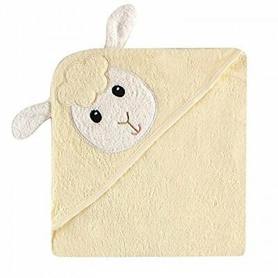 Luvable Friends Animal Face Hooded Towel, Cream Little Lamb 100% Cotton Terry