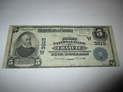 $5 1902 Chanute Kansas KS National Currency Bank Note Bill! Ch #3819 Fine RARE