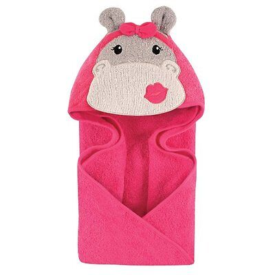 Hudson Baby Animal Face Hooded Towel for Baby Girls Hot Pink Hip Hippo