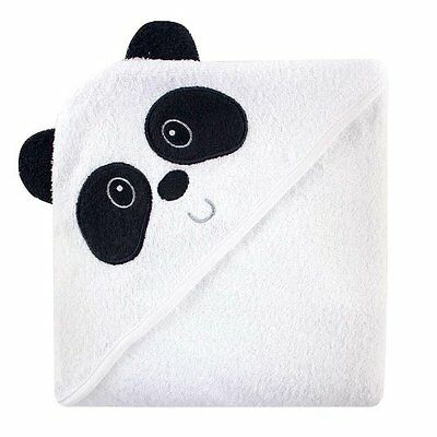 Luvable Friends Animal Face Hooded Towel, Black & White Panda 100% Cotton Terry