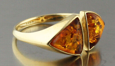 Russian natural  Amber real 585 14 k gold ring 2.6 gr size 7.5
