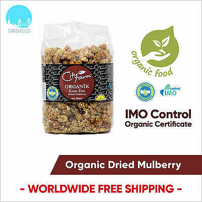 City Farm Turkish Organic Dried Mulberries 250gr/8.8oz - FREE INT. SHIPPING