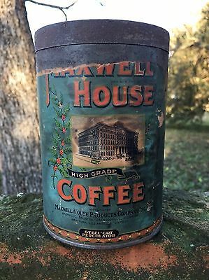 Vintage Old Early 1920s Maxwell House Coffee Can Tin Paper Label Nashville