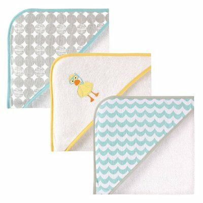 "Luvable Friends 3 Pack Hooded Towels For Baby Boys & Girls Yellow 30"" x 30"""
