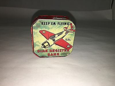 "Vintage ""Keep'Em Flying"" Dime Register Bank.   508-G"