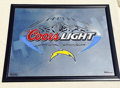 """New Coors Light Los Angeles Chargers Football Beer Mirror NFL Bar Sign  """"New"""""""